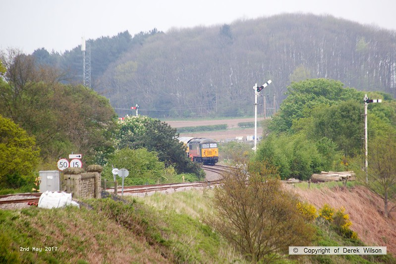 170502-013  DCR class 56 No 56303 stopped again between Clipstone East & West junctions. There is access to road transport at this location & a response team were now in attendance. A lot of squealing could be heard as it crawled to this location, so possibly a brake problem, maybe not releasing.