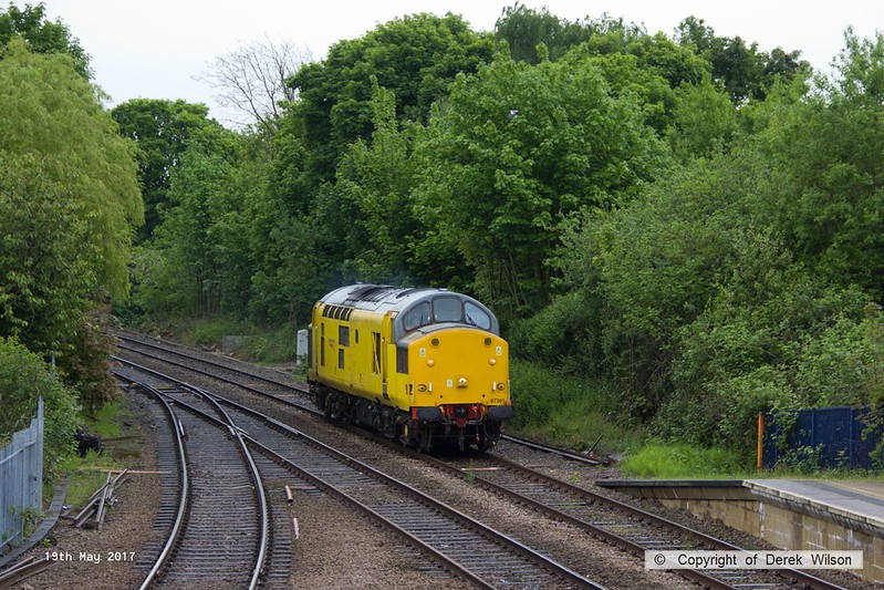 170519-001  Network Rail class 97 No 97301 passing 'light' through Mansfield Woodhouse on the Robin Hood Line, heading to Tuxford to collect Loram Rail Grinder CRG1 (DR79301 - 304), running as 0Z93, 12:30 Derby RTC - Thoresby Colliery Junction 14:08.