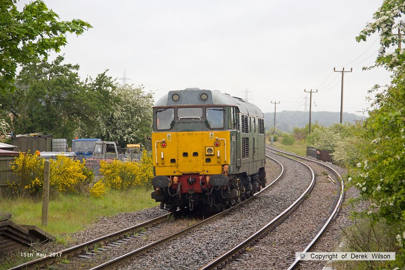 170515-017  DCR class 31 No 31452 running 'light' as 0Z01, 08:22 Thoresby Colliery Junction - Derby RTC. It is seen passing through the former Lancashire Derbyshire & East Coast Railway station at Edwinstowe which was closed to regular passenger trains by BR in 1955.