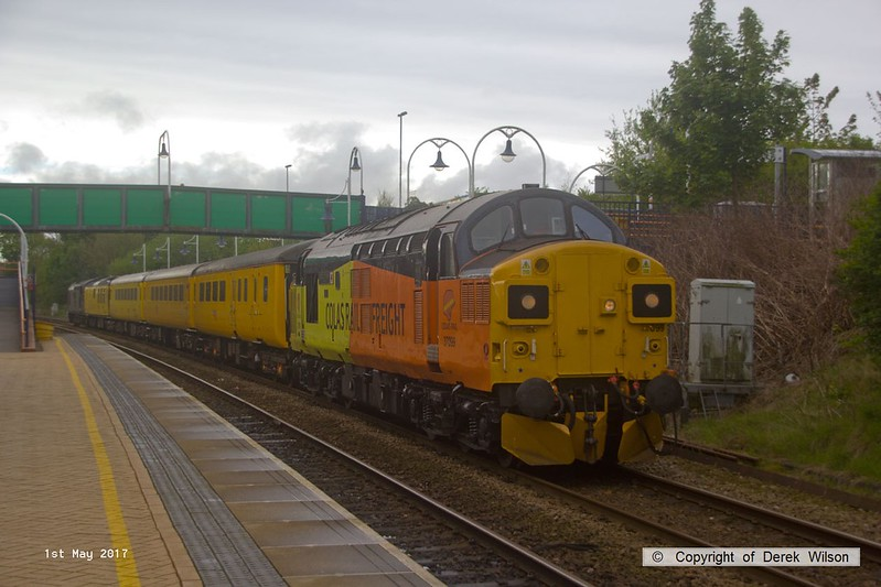 170501-003  Colas Rail Freight class 37's No's 37099 & 37057 top & tail test train 1Q64, 08:53 Derby RTC - Doncaster West yard, captured passing through Mansfield Woodhouse on the Robin Hood Line.