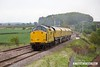 170519-009  Network Rail class 97 No 97301 is captured on the LDECR passing Clipstone West, powering train 4Z01, 16:00 Thoresby Colliery Junction - Chaddesden sidings 17:45. In tow is Loram Rail Grinder CRG1, DR79301 - 304 which is being taken to Bishop Auckland, via Derby. It is to stay up North for a week and then be returned to Tuxford.
