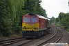 170531-008  DB Cargo class 66/0 No 66158 with 60074 in tow is captured sauntering through Mansfield Woodhouse, on the Robin Hood Line, with 0M22, 12:10 Doncaster Belmont Yard - Toton TMD.
