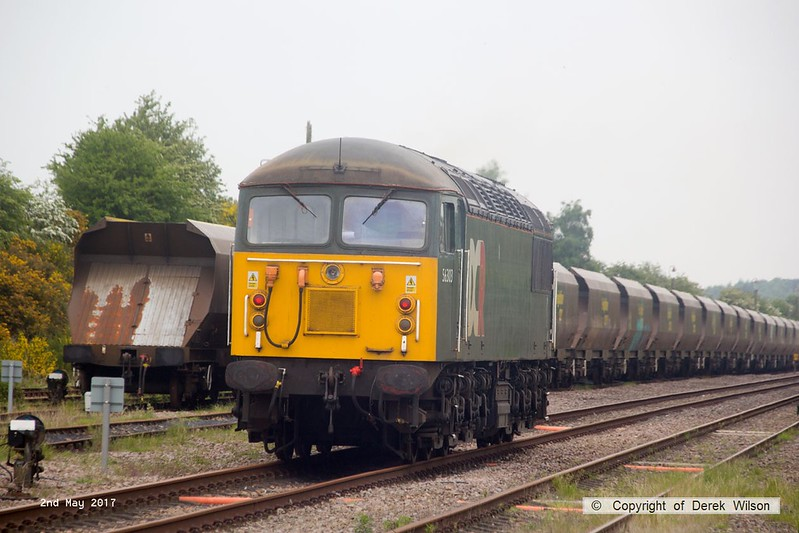 170502-009  DCR class 56 No 56303 pulls away from Thoresby colliery junction, heading to Tuxford to collect Loram Rail Grinder CRG2 which has severe wheel flats.
