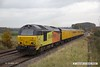 171109-007  Colas Rail Freight class 67's No's 67023 Stella & 67027 Charlotte in top & tail mode are captured passing the former Clipstone West Junction, powering test train 1Z01, 15:58 High Marnham - Derby RTC which is returning to the test centre having visited the High Marnham Test Track for calibrating.