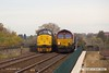 171113-007  Colas Rail Freight class 37 No 37219 Jonty Jarvis is captured heading onto the viaduct at Mansfield, at the rear of test train 1Q64, 09:08 Derby RTC - Gascoigne Wood down loop. Heading towards the camera with RHTT 3J87, 02:45 Toton TMD - Toton TMD is DB Cargo class 66/0 No 66165, top & tail with 66061 which is just visible at the rear. A rather unusual shot, looks like they are racing along the viaduct!!