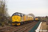 171113-005  Europhoenix class 37 No 37611 Pegasus top & tail with Colas Rail Freight class 37 No 37219 Jonty Jarvis are captured passing through Mansfield, powering test train 1Q64, 09:08 Derby RTC - Gascoigne Wood down loop. Heading towards the camera with RHTT 3J87, 02:45 Toton TMD - Toton TMD is DB Cargo class 66/0 No 66165, top & tail with 66061 which is out of sight, at the rear.