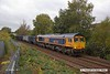 171004-003  GB Railfreight class 66/7 No 66767 is captured near Princes Street footbridge at Mansfield, powering train 6E89. 09:22 Wellingborough - Doncaster Royal Mail Terminal  (VSTP). This was tripped to Rylstone after arriving at Doncaster.