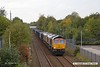 171009-001  GB Railfreight class 66 No 66753 is seen passing Tenter Lane, Mansfield, powering train 6E89, 10:20 Wellingborough up TC - Rylstone. Tucked in behind is 'dead' classmate No 66764.