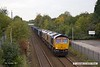171009-004  GB Railfreight class 66 No 66753 is seen passing Tenter Lane, Mansfield, powering train 6E89, 10:20 Wellingborough up TC - Rylstone. Tucked in behind is 'dead' classmate No 66764.