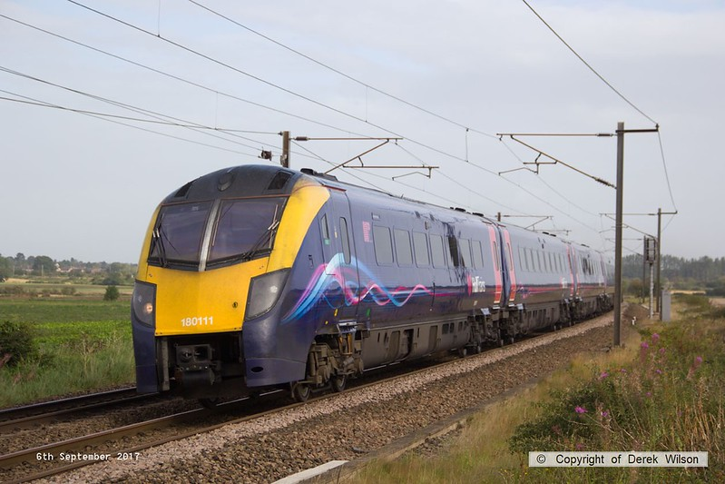 170906-011  Hull Trains class180 unit No 180111 speeds past Eaton Lane with 1A92, the 08:23 Hull - London King's Cross.
