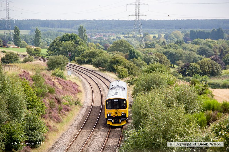 170904-006  Network Rail class 950 ultrasonic test unit No 950001 is captured nearing Welbeck Junction as it returns from High Marnham with 2Q08, 10:32 Derby RTC - Derby RTC.