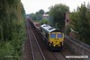 170903-003  Freightliner class 66/5 No 66506 Crewe Regeneration is seen from Princes Street footbridge at Mansfield, powering engineers train 6Y32, 12:30 Woodend Junction - Toton North Yard.