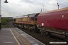 170911-009  On Monday 11th September 2017 DB Cargo class 66/0 No 66107 took five HTA hoppers to Shirebrook for 'cut & shut' mods at W H Davis's wagon works. It is seen reversing through Shirebrook station with train 4M14, 06:16 Belmont Down Yard - Shirebrook (W H Davis). The hoppers were No's 310382, 405, 579, 709 & 755.