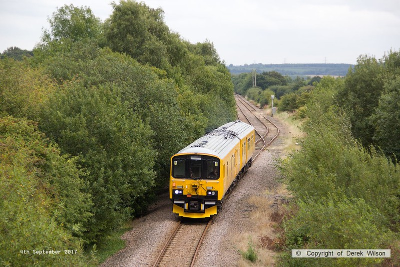 170904-012  Network Rail class 950 ultrasonic test unit No 950001 is seen leaving the former Lancashire Derbyshire & East Coast Railway as it heads towards Shirebrook East Junction with 2Q08, 10:32 Derby RTC - Derby RTC.