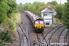 170911-002  On Monday 11th September 2017 DB Cargo class 66/0 No 66107 took five HTA hoppers to Shirebrook for 'cut & shut' mods at W H Davis's wagon works. It is seen passing Shirebrook Junction with train 4M14, 06:16 Belmont Down Yard - Shirebrook (W H Davis). The hoppers were No's 310382, 405, 579, 709 & 755.