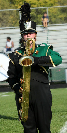 Cody Walke marches with a baritone sax for Wawasee at the 36th Annual Concord Invitational.