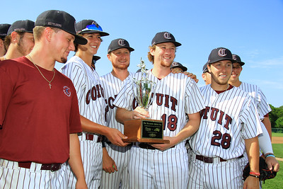 The Cotuit Kettleers are all smiles as they are presented with the Patriot Cup. The Patriot Cup is awarded to the team, either Cotuit or Hyannis, that wins the season series during the year.