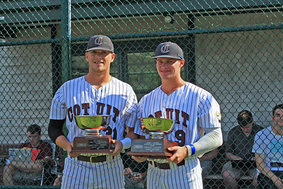 Greyson Jenista, left, and Griffin Conine, right, received their share of some memorable hardware in a recent presentatation by League officials at Lowell Park. Greyson received the Pat Sorrenti award as the leagues MVP. This award is voted on by the league managers. And Griffin Conine was the recipient of the CCBL McNeese award. This is emblomatic for being named the outstanding Pro Prospect as voted on by MLB scouts. Gentleman, CONGRATULATIONS!