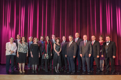 Distinguished Alumni and Deans Judith Hennessey, Stephen C. Goodall, Rose Esposito-McCallen, Chuen Hsu, Jenelle Ball, David Hassenzahl, J'Anna Jacoby, Robert Knight, Candy Solari, Aaron Skaggs, Jose Manuel Leal da Costa, John Unruh, Paul Lambros, Eddie Vela, Angela Trethewey,  and Michael Finney (left to right) take a group photo as guests and honorees enjoy the Distinguished Alumni Dinner on Friday, March 24, 2017 in Chico, Calif. (Jason Halley/University Photographer)