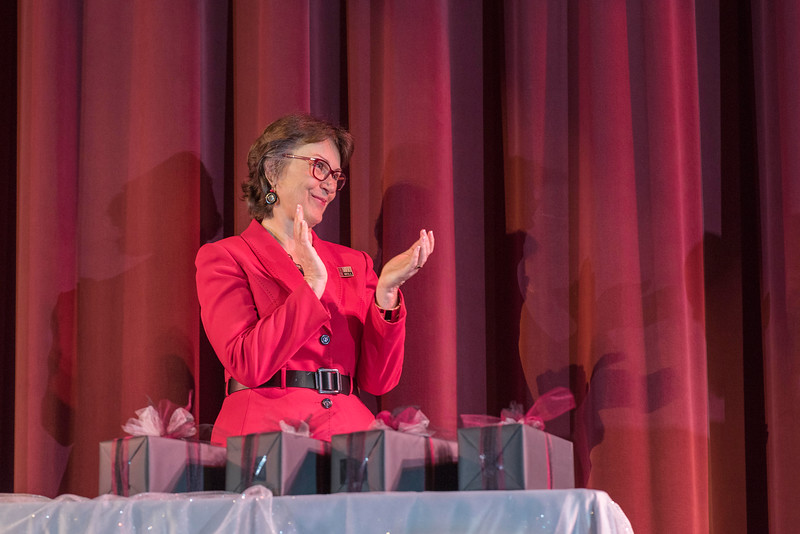 President Gayle Hutchinson thanks Distinguished Alumni, guests and honorees during the Distinguished Alumni Dinner on Friday, March 24, 2017 in Chico, Calif. (Jason Halley/University Photographer)