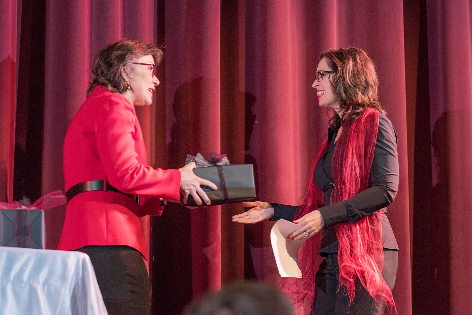 President Gayle Hutchinson (left) thanks Distinguished Alumni J'Anna Jacoby (right) as guests and honorees during the Distinguished Alumni Dinner on Friday, March 24, 2017 in Chico, Calif. (Jason Halley/University Photographer)