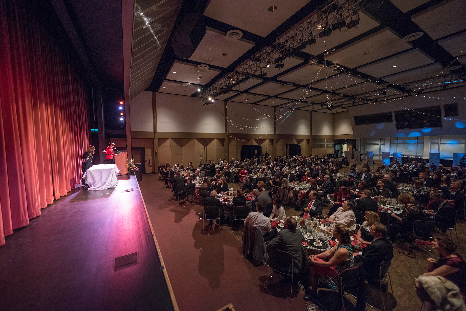 President Gayle Hutchinson (left) thanks guests and honorees during the Distinguished Alumni Dinner on Friday, March 24, 2017 in Chico, Calif. (Jason Halley/University Photographer)