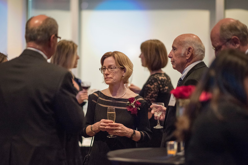 Distinguished Alumni Jenelle Ball, guests and honorees enjoy the Distinguished Alumni Dinner on Friday, March 24, 2017 in Chico, Calif. (Jason Halley/University Photographer)