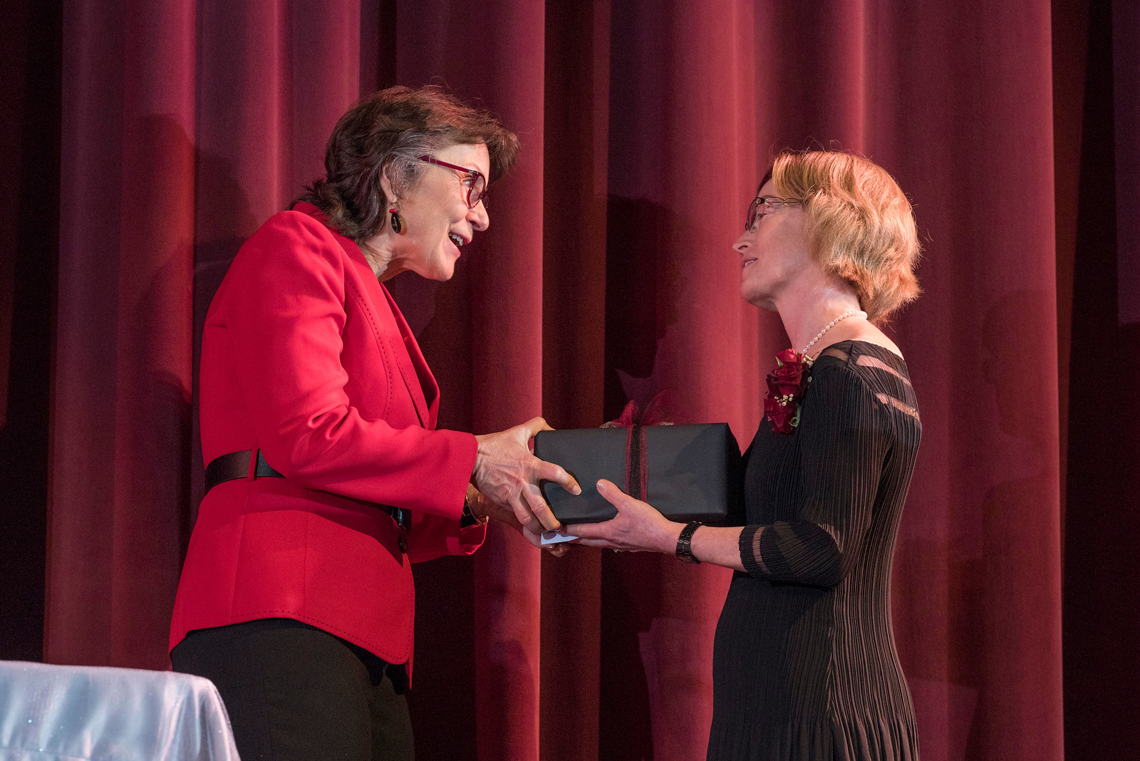 President Gayle Hutchinson (left) thanks Distinguished Alumni Jenelle Ball (right) as guests and honorees during the Distinguished Alumni Dinner on Friday, March 24, 2017 in Chico, Calif. (Jason Halley/University Photographer)
