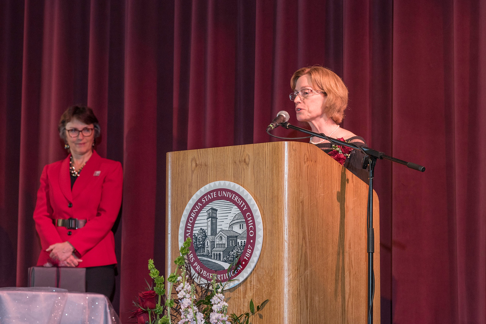 President Gayle Hutchinson (left) listens to Distinguished Alumni Jenelle Ball (right) talk to guests and honorees during the Distinguished Alumni Dinner on Friday, March 24, 2017 in Chico, Calif. (Jason Halley/University Photographer)