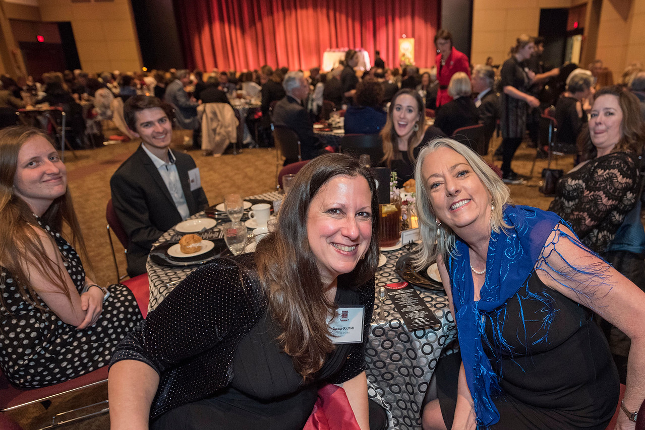 Donna Gauthier, Kathleen Hassig (left to right) guests and honorees enjoy the Distinguished Alumni Dinner on Friday, March 24, 2017 in Chico, Calif. (Jason Halley/University Photographer)