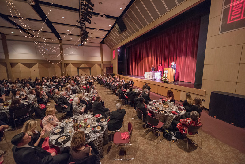 Distinguished Alumni Stephen Goodall talks to guests and honorees during the Distinguished Alumni Dinner on Friday, March 24, 2017 in Chico, Calif. (Jason Halley/University Photographer)