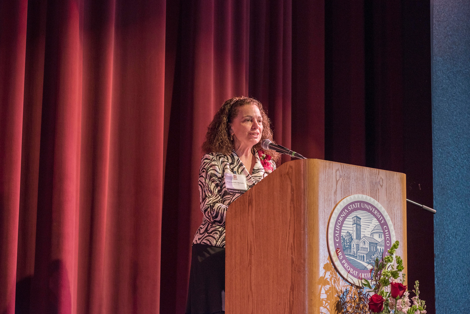 Distinguished Alumni Rose Esposito-McCallen talks to guests and honorees during the Distinguished Alumni Dinner on Friday, March 24, 2017 in Chico, Calif. (Jason Halley/University Photographer)