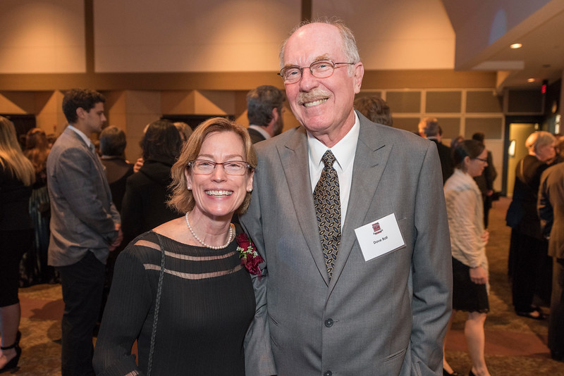 Distinguished Alumni Jenelle Ball (left) Dave Ball (right), guests and honorees enjoy the Distinguished Alumni Dinner on Friday, March 24, 2017 in Chico, Calif. (Jason Halley/University Photographer)