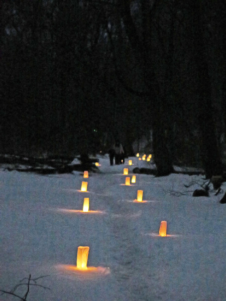 Andrew Aurigema - Oneida Daily Dispatch The Oneida Recreation Department hold a candlelight snowshoeing event at Duross Conservancy in Oneida on Friday, March 24, 2017.