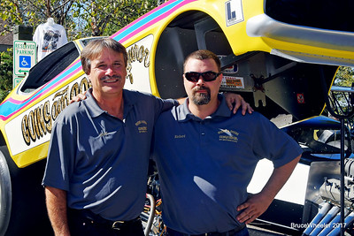 O'ahu folks, Rick and Richard Lucas (Rick's vintage Mustanf Funny Car behind them).