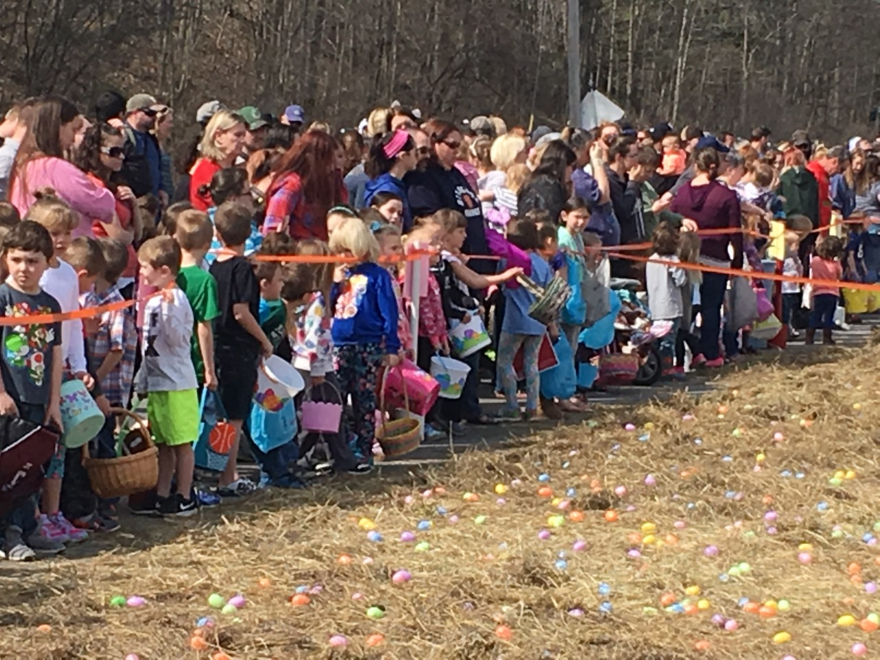 John Brewer - Oneida Daily Dispatch With more than 2,000 eggs waiting hidden in the straw, youngsters and their families line up for the annual Easter egg hunt in Canastota.