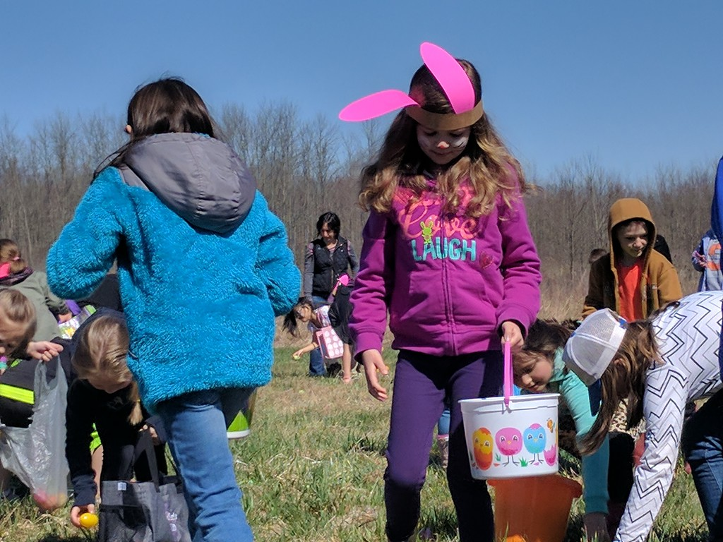 . Leah McDonald - Oneida Daily Dispatch Children and families take part in the Great Swamp Conservancy\'s Easter egg hunt at the Great Swamp on Friday, April 14, 2017.