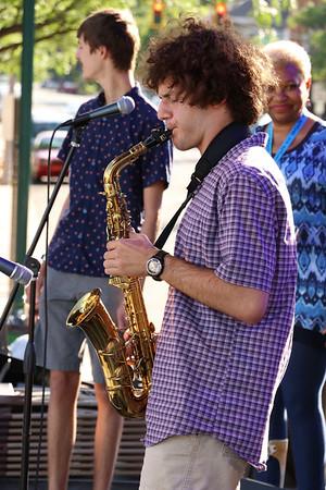 Brian Sapp   The Goshen News<br /> Joseph Furfuro, 16, Mishawaka, plays a solo with the Elkhart Jazz Festival All Stars.