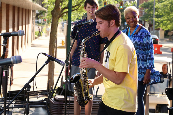 Briann Sapp | The Goshen News<br /> Jackson Trowbridge, 16, Elkhart, plays at the Elkhart Jazz Festival.