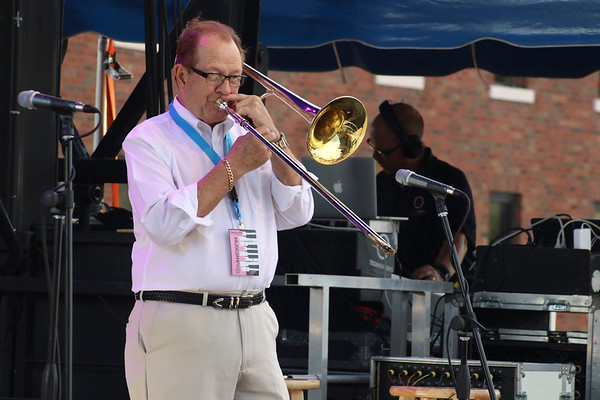 Brian Sapp | The Goshen News<br /> Bill Allred of the Elkhart Jazz Festival All Stars plays Saturday.