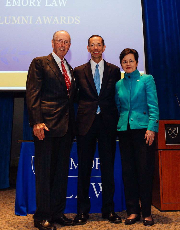 L to R: Phil Reese 66C 76B 76L (Emory Law 100 Honoree), Dean Robert A. Schapiro, and Chilton Varner 76L (Emory Law 100 Honoree)