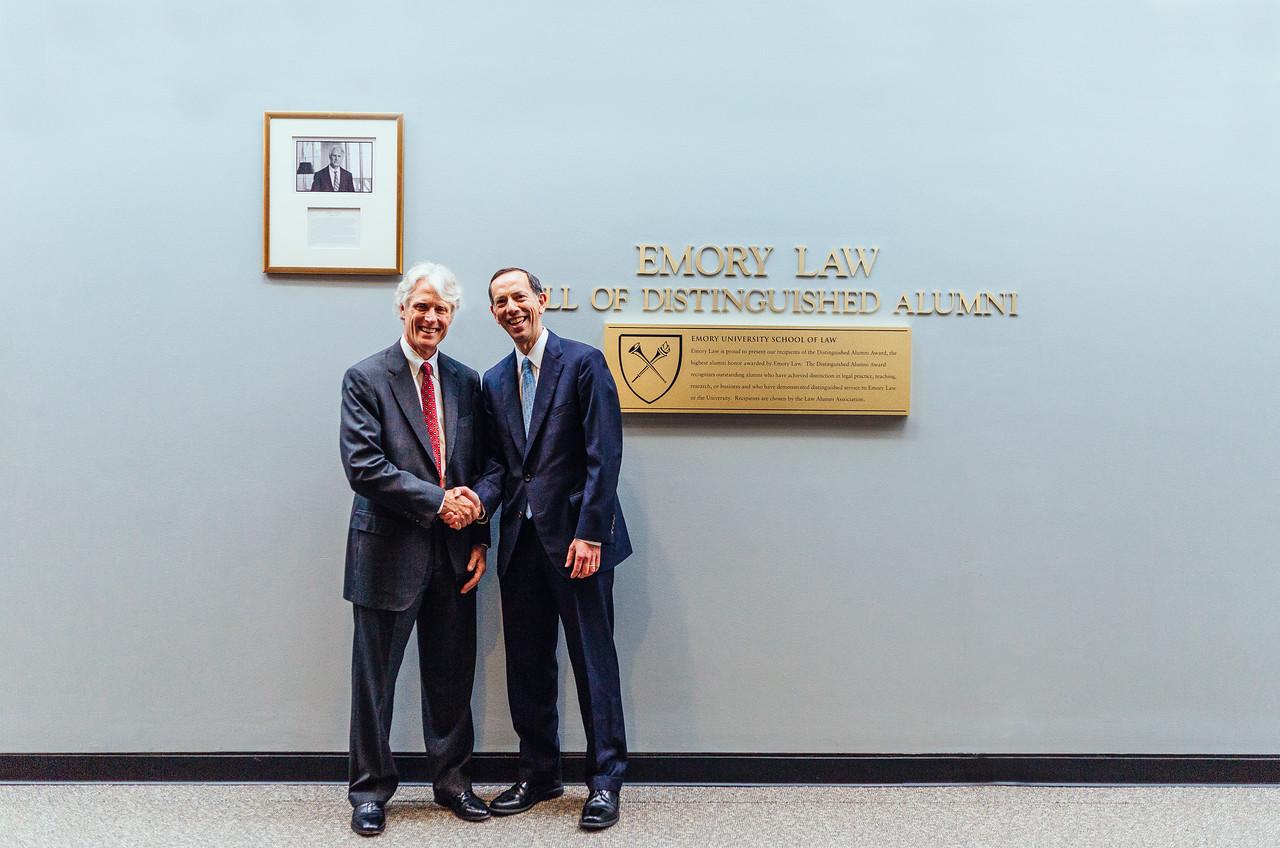 Distinguished Alumni Award Recipient John Latham 79L with Dean Robert A. Schapiro (4/27/17)