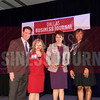 Cheryl Richards, Senior vice president, chief diversity and inclusion officer, VisitDallas, (center) receives her Minority Business leader Award, from Christopher Trowbridge and Tammy Wood, (left), and Sonja McGill, (right) partners with sponsor Bell Nunnally.