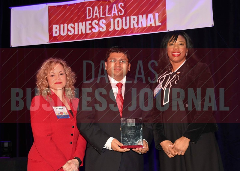 Kuntesh Chokshi, New Business Sales director, PepsiCo, (center) receives his Minority Business leader Award, from Tammy Wood, (left), and Sonja McGill, (right) partners with sponsor Bell Nunnally.