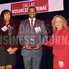 Kevin E. Crayton, Senior vice president, National Real Estate Services, Comerica Bank (center) receives his  Minority Business leader Award, from Sonja McGill,  (left), and Tammy Wood, (right) partners with sponsor Bell Nunnally.