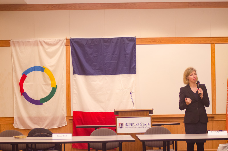 Anne-Claire Legendre <br /> Consul General of France visiting Buffalo State College.