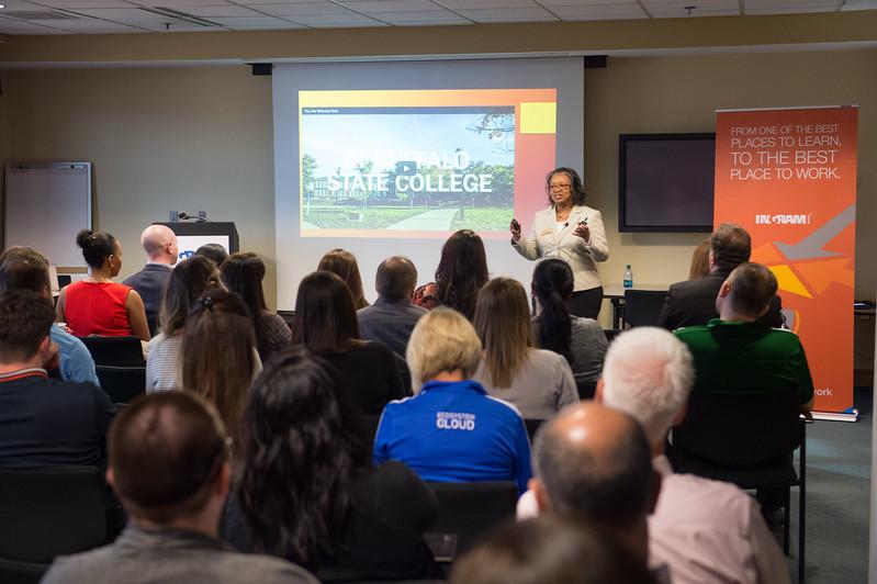 Buffalo State College President Katherine Conway-Turner and administrators visit Ingram Micro.