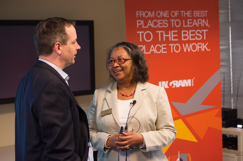 Buffalo State College President Katherine Conway-Turner and administrators visit Ingram Micro.
