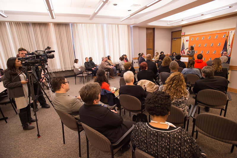 Announcement of Buffalo State College and Buffalo Public Schools partnership in Urban Teacher Academy at McKinley High School.
