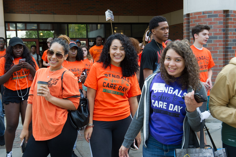Students volunteering during Bengal Dare to Care Day at Buffalo State College.